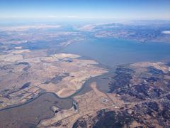 USA, California, Agricultural land and lake Stock Photos