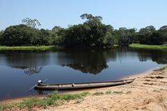 Brazil, Amazonas, Canoe on Amazon river Stock Photos