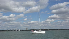 Sailing yacht in southampton water, england Stock Footage