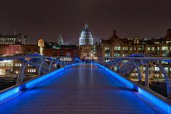 United Kingdom, London, View of Millennium Bridge Stock Photos