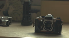 Old film and photo camera collection Stock Footage