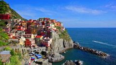 Picturesque view of Manarola in sunny summer day Stock Footage