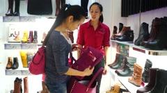Shenzhen, China: shoe store Stock Footage