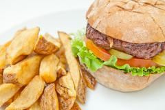 Hamburger And Fries Stock Photos