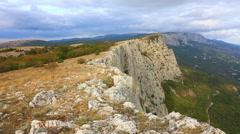 Beautiful autumn landscape with Foross rocks, the Crimea Stock Footage