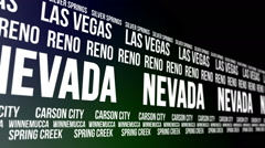 Nevada State and Major Cities Scrolling Banner Stock Footage