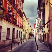 Spain, Madrid, Barrio de las Letras, Little street - stock photo