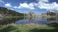 Lake & Pond Custer State Park Spring Slyvan Lake Rocks Blue Sky Stock Footage