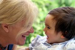 Italy, Grandma and grand-daughter (12-17 months) Stock Photos