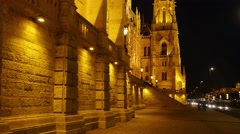 Close to parliament in Budapest at night Stock Footage