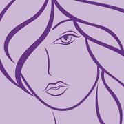 Female laconic heads outline in violet Stock Illustration