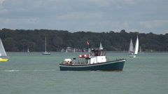 Hythe ferry boat turns to head for southampton, england Stock Footage