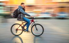 cyclist on the street - stock photo