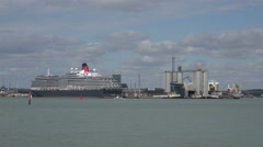Queen victoria cruise liner, ship moored at southampton, england Stock Footage