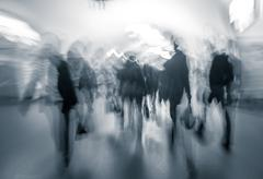 human traffic in the lobby of the underground at rush hour. - stock photo