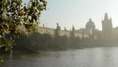 Charles bridge with tree (branch) - sunrise - Prague, Czech Republic - river - stock footage