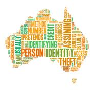 identity theft concept with tag cloud forming the sahpe of australia map - stock illustration