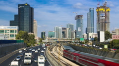 Traffic Time Lapse -Tel Aviv At Day Light,  Ayalon Freeway Stock Footage