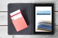 concept of deposit money using credit cards at online casino - stock photo