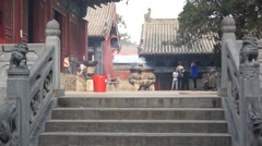 China Songshan Mountains 33 Shaolin temple people Stock Footage