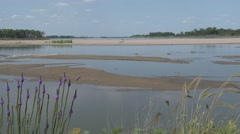 River & Stream Ponca State Park Summer Sandbar Mud Flats Shore Stock Footage