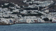 Mykonos Greece water front homes and cafes 4K 010 Stock Footage