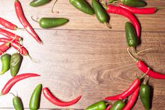 chili and jalapeno background - stock photo