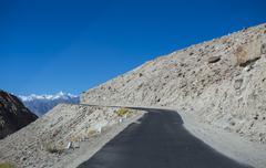 High altitude road in himalayas Stock Photos