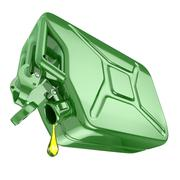 one last drop of fuel from jerrycan. engine oil and green canister isolated o - stock illustration