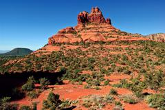 USA, Arizona, Sedona's Cathedral Rock and Baby Bell Rock viewed from Courthouse Stock Photos