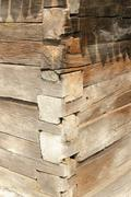 Beams intersection on exterior of romanian traditional wooden  building Stock Photos