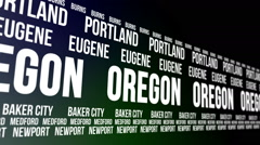 Oregon State and Major Cities Scrolling Banner Stock Footage