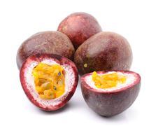 passionfruit isolated on white background - stock photo