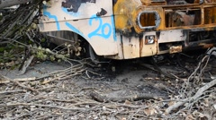 The destroyed car Stock Footage