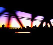 USA, New York City, Manhattan, Colored bridge and city skyline Kuvituskuvat