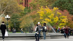 Washington Square Park Fountain NYC New York City Fall Autumn Taking Picture Stock Footage
