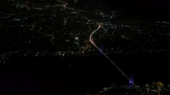Istanbul. Bosphorus Bridge at night from the airplane Stock Footage