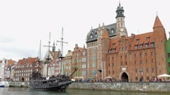 Gdansk, Poland. The Long Riverside promenade and old galleon ship Stock Footage