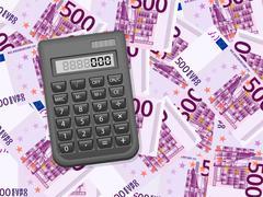 Calculator on five hundred euro background Stock Illustration