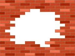 crashed brick wall - stock illustration