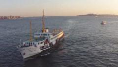 Ferry aerial shot Istanbul Stock Footage