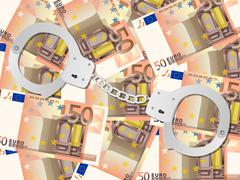 Handcuffs on fifty euro background Stock Illustration