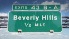 Beverly Hills Road Sign Stock Footage