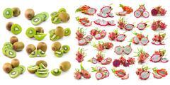 Kiwi, dragonfruit  isolated on white background Stock Photos