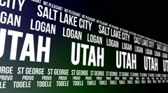 Utah State and Major Cities Scrolling Banner Stock Footage