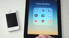 Instagram on an iPad display Stock Footage