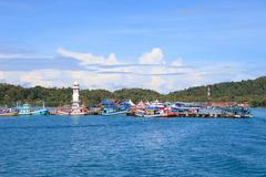 Bang bao port important pier to destination going hub in koh chang island tra Stock Photos