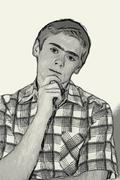 Stock Illustration of sketch teen boy body language -  thinking
