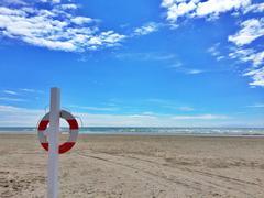 Denmark, Lifebelt on beach - stock photo