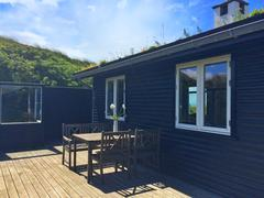 Denmark, Summerhouse outdoor terrace Stock Photos